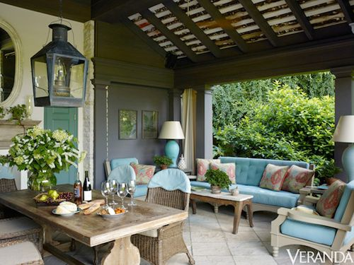Richard Keith Langham's Rustic Country House - beautiful outdoor roomColors Tone, Keith Langham, Outdoor Living, Pools House, Country House, Rustic Design, Outdoor Room, Covers Porches, Richard Keith