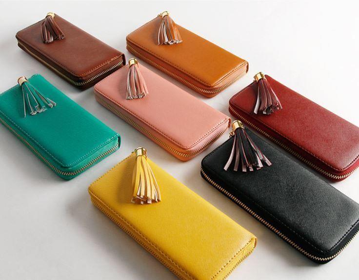 Women New Fashion Zipper High Quality Leather Clutch Wallet