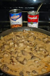 The Ranch Kitchen's Beef Stroganoff, easy as you can get with left over meat!  Quick and easy recipe.....tasty as well.  I'll be making this one again.  HIT!