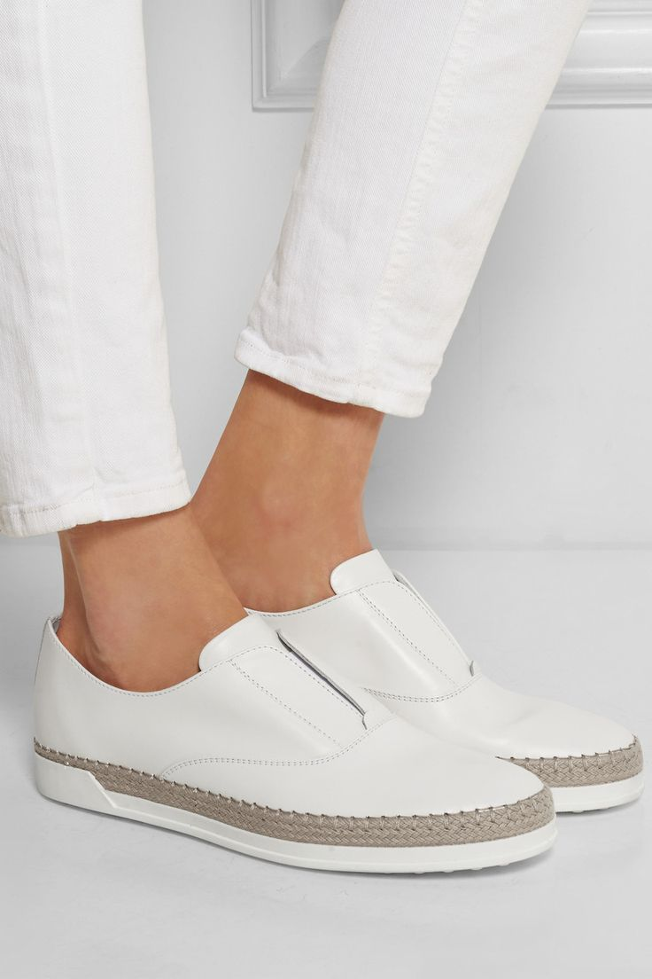 Tod's|Leather espadrille sneakers|NET-A-PORTER.COM