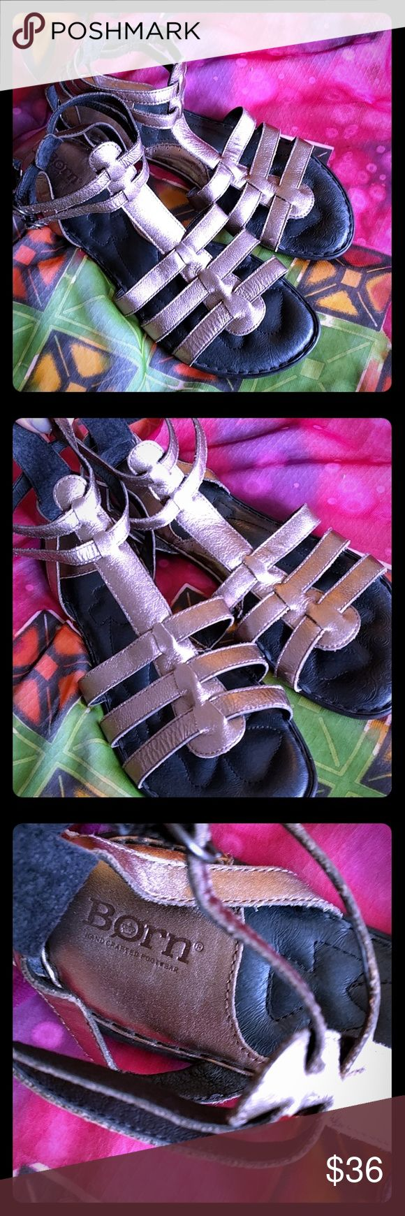 Born macadamia pewter sandals size 10 Pewter born gladiator sandal, with rubber heels. Very comfortable, worn several times but no damage other than slight wear on soles. Born Shoes Sandals
