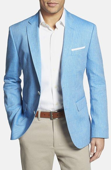 BOSS 'Jarett' Trim Fit Linen & Wool Blazer available at #Nordstrom