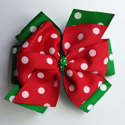 Emerald Green and Red Layered Bow with Polka Dots