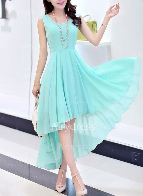 Chiffon Solid Sleeveless High Low Casual Dresses (1031332) @