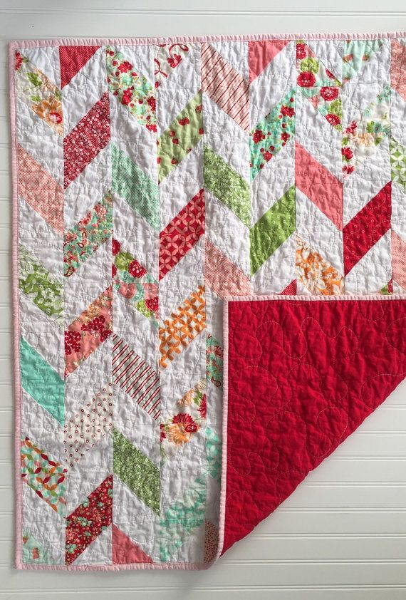 Baby Herringbone Quilt- Red, Mint and Pink Scrumptious Baby Quilt Ready to Ship Now © SewEMG 2014 All Rights Reserved      The sweetest pastel colors and