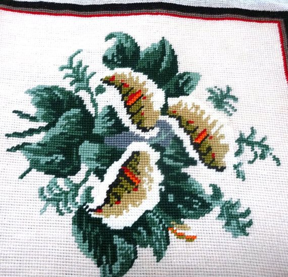 Vintage Floral Preworked Needlepoint Canvas by VictorianWardrobe, $15.00