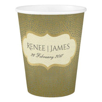 GLAMOROUS GOLD VELVET GREY MOSAIC DOT PERSONALISED PAPER CUP - bridal shower gifts ideas wedding bride