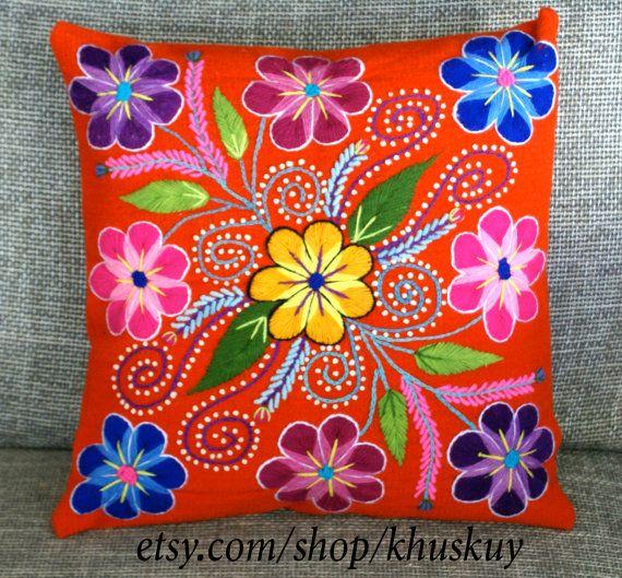 Peruvian Pillow covers Hand embroidered flowers 16 x 16 Sheep & alpaca wool handmade Tangerine Orange