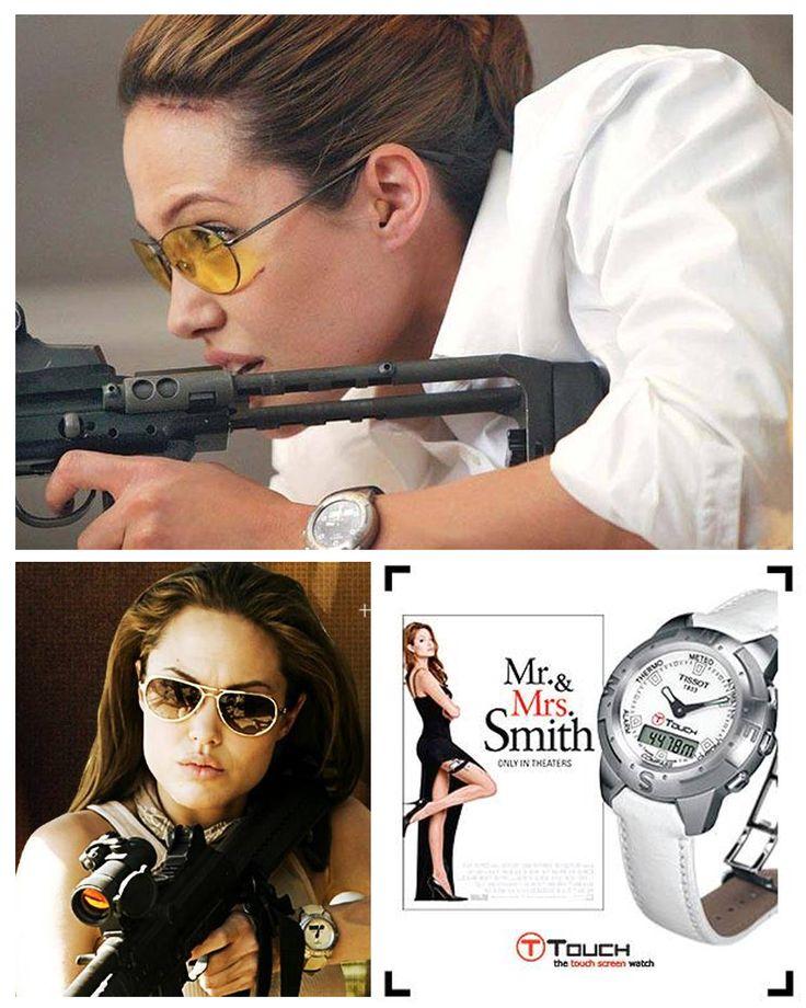 """Angelina Jolie , słynna gwiazda filmowa, już nie raz w swoich filmach występowała w zegarku Tissot T-Touch. Za pierwszym razem jako Lara Croft, a parę lat temu w filmie """"Pan i Pani Smith"""". Kolekcję zegarków Tissot T-Touch można oglądać na naszej stronie:"""