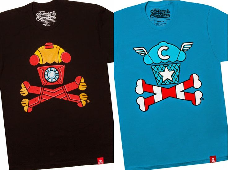 "The ""Cupcakes Converge!"" Avengers Age of Ultron Crossbones T-Shirt Collection by Johnny Cupcakes - Iron Man ""Metal Crossbones"" & Captain America ""Freedom Crossbones"""