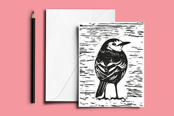 Pied Wagtail lino print card Pied Wagtail Card Linocut #piedwagtail #wagtailcard #wagtaillinoprint #handprintedcard #linoprintcard #piedwagtailcard #linocutbirdcard #birdlinoprintcard #wagtailgreetingscard #linoprintwagtailcard #linocutcard #linoprintgreetingscard