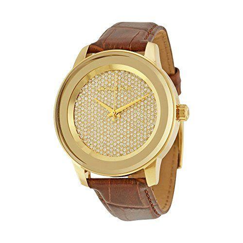 Womens Michael Kors Mk2455 Kinley Brown Leather Glitz Gold Tone Watch *** Learn ...