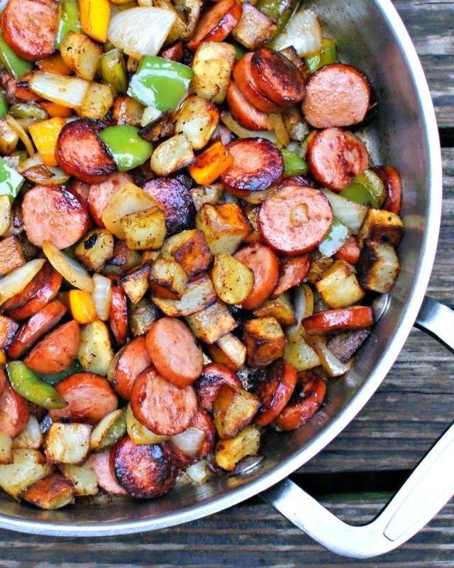 Kielbasa, Pepper, Onion and Potato Hash. Use zucchini  and yellow squash also.