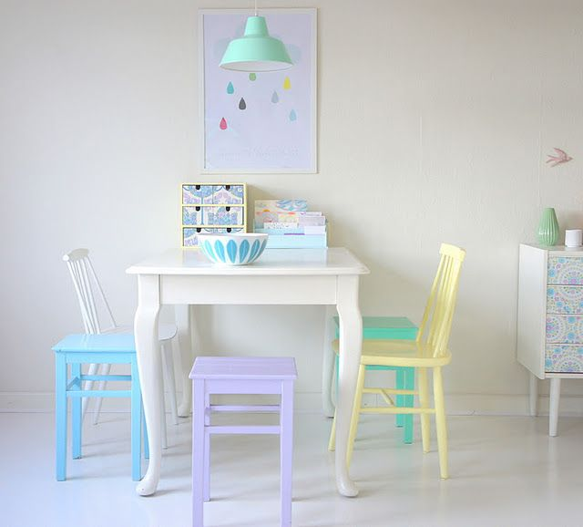 Cute Pastel Kids' Table and Chairs