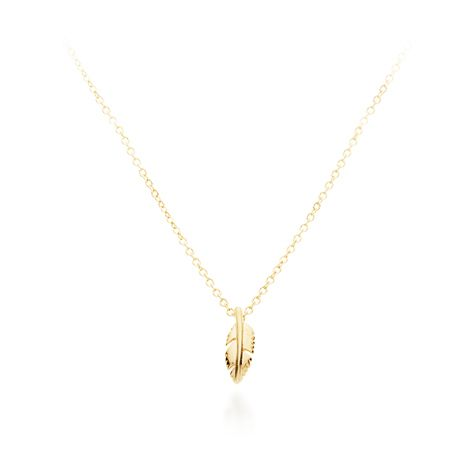 Symbol of Freedom Petite Feather Pendant Necklace Gold Dipped from My Jewellery Story