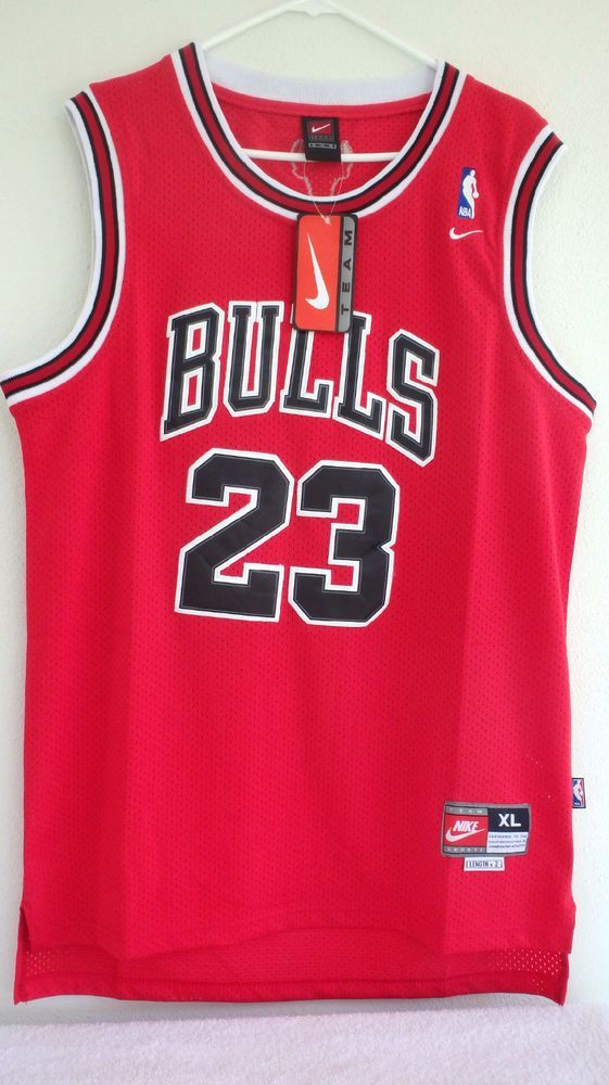 ae36c27dd0a Michael Jordan Chicago Bulls Team Nike Authentic Jersey Red Blk Size 52 XL  Sewn  Nike  ChicagoBulls