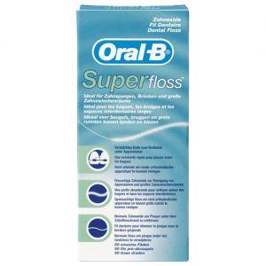 Oral-B Super Floss 50 stuks  Description: Super Floss is ideaal voor het reinigen van beugels bruggen en ruimten tussen de tanden. De drie verschillende componenten; een verstevigd uiteinde het sponsachtige middengedeelte en reguliere floss zorgen gezamenlijk voor het gewenste resultaat. Het stevige uiteinde kan gemakkelijk onder bruggen en orthodontisch apparatuur worden doorgehaald. Het losser geweven middengedeelte zorgt voor het makkelijk en effectief verwijderen van plak.  Price: 2.37…