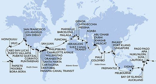 """""""World Cruise,"""" a 119-day adventure with stops at 49 destinations in 32 countries by MSC Cruises"""