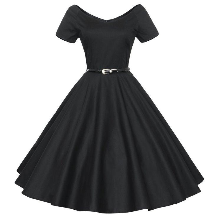 Audrey Hepburn vintage 50s 60s V-neck short sleeve belt tunic ball gown dress women casual party dresses robe de fiesta Alternative Measures