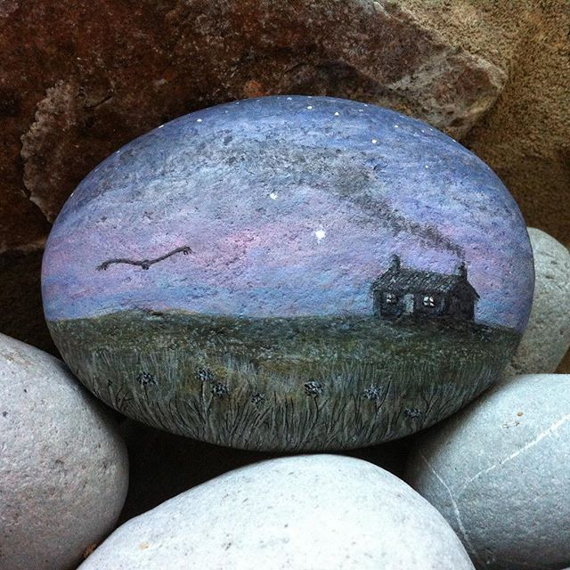 This stone had sat unfinished for months, so this afternoon I decided to finish it. It evolved from a quick sketch I did many years ago after I saw a male skydancer, a rare and magnificent bird of prey, hawking across the upland moors of the Brecon Beacons. #henharrier #skydancer #birdofprey #stone #pebble #illustration #paintedstone #paintedpebble #stoneart #stonepainting #pebblepainting #stoneillustration #rock #rockpainting #paintedrock #stoneartist #venusrising #cottage #littlecottage…