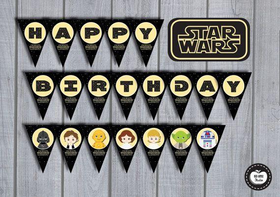 20x STAR WARS Birthday Party Banner Happy by RedAppleStudio