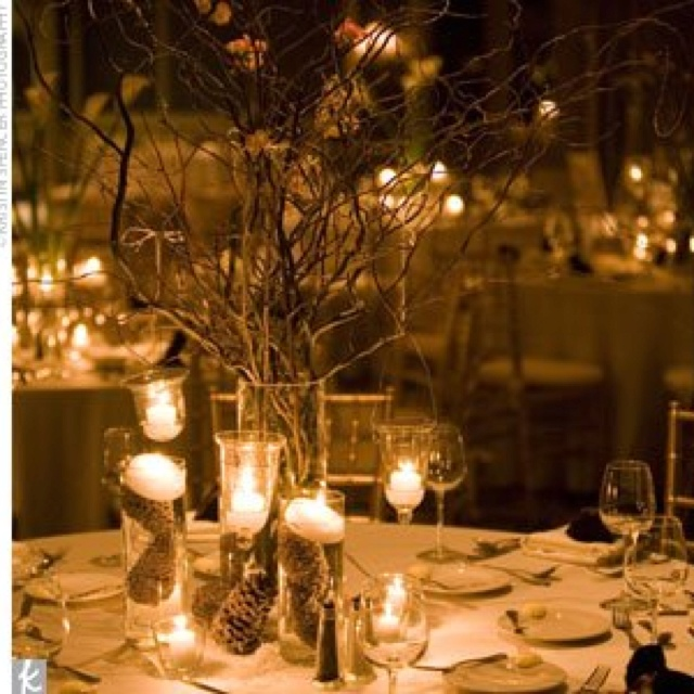Rustic winter centerpieces-the pine cones in water with floating candles..?
