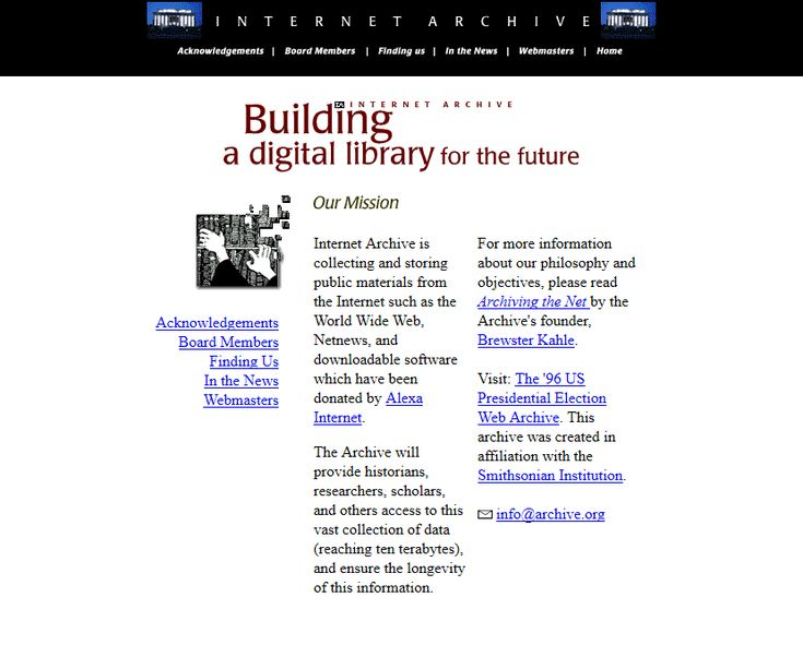 Internet Archive website 1997