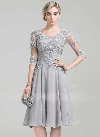 [US$ 137.49] A-Line/Princess Scoop Neck Knee-Length Chiffon Mother of the Bride Dress With Ruffle Appliques Lace