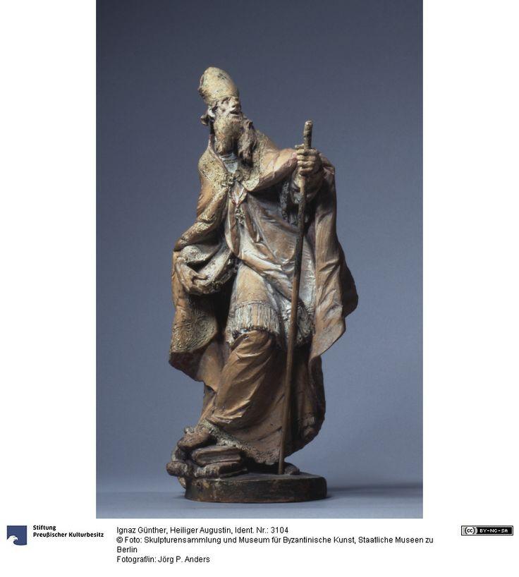 Saint Augustin Figure Ignaz Günther (22/11/1725, Altmannsteinstrasse - 26/06/1775, Munich), sculpteur 1765 Origine stylistique: Munich Terre cuite avec des restes de la version Hauteur: 33,5 cm  Largeur: 14 cm  Profondeur: 11.5 cm  Poids: 2 kg