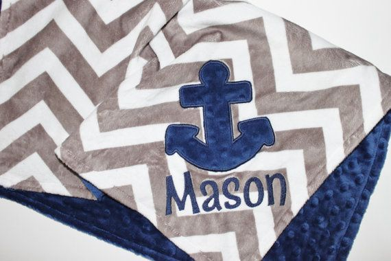PERSONALIZED DOUBLE MINKY Nautical Blanket or by firstcrushdesigns