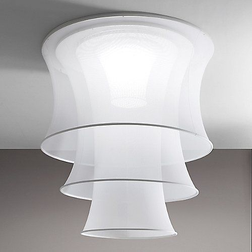 Named after the famous mathematician, the Axo Light Euler 3-Tier Flushmount staggers three catenoid surfaces, occupying a large area with funneling volume and translucent illumination. A thin metal structure determines the curvature of the fixture, stretching a synthetic white fabric in to sheer layers which cover the interior diffuser and light sources. With an impressive height and diameter, the substantiality of the Euler is counterbalanced by the ethereal nature of the light, projecting…