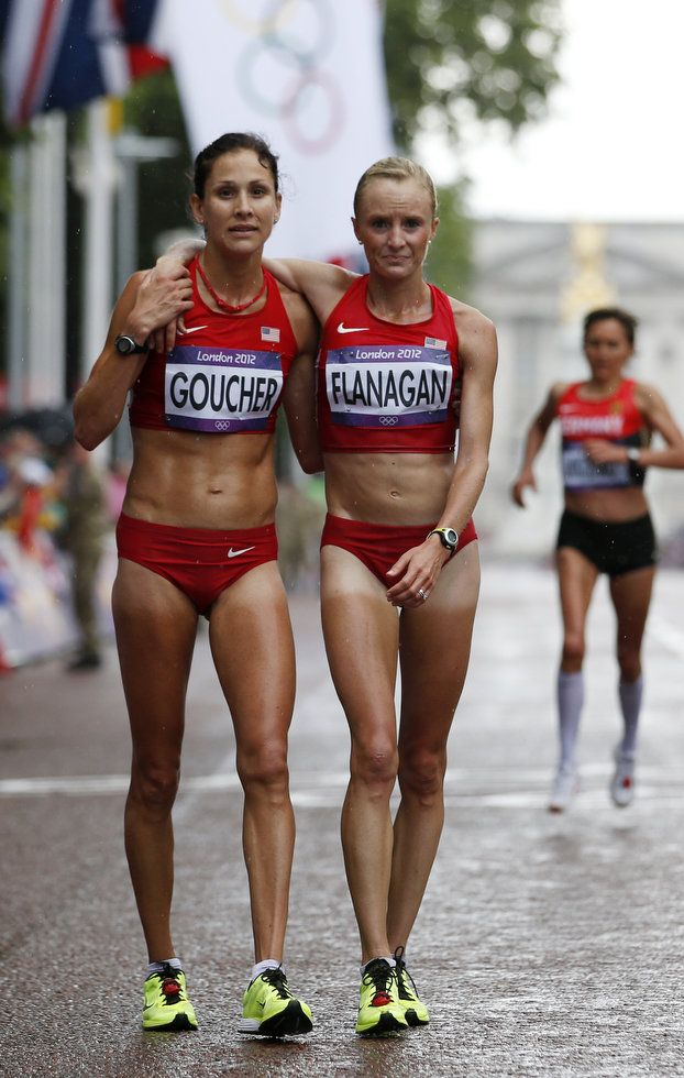 Kara Goucher and Shalane Flanagan after the 2012 Olympic Marathon in London. Love the team ethic on show here. And the great tan-lines!