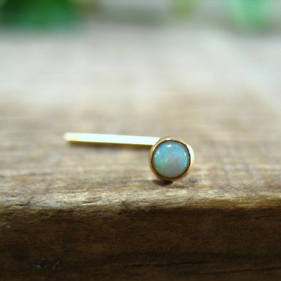 Nose Stud Opal Gemstone in Gold Filled 3mm by MysticMoons on Etsy, $12.00