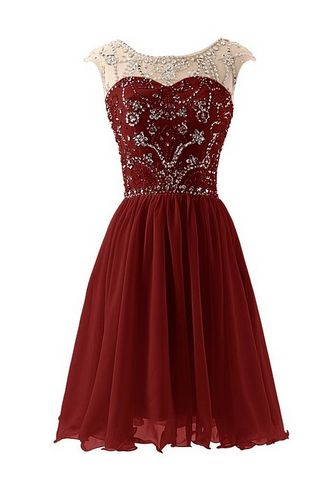 Buy Short Burgundy Scoop Prom/Homecoming Dress with Beaded Prom Dresses under US$ 99.99 only in SimpleDress.