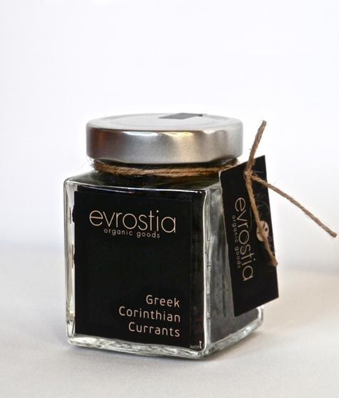 "Evrostia Organic Goods"", Organic Corinthian Black Raisin, 200gr  Type: Organic Corinthian Black Raisin. Source: From small farms with organic, Corinthian black raisin vineyards. Cultivation: Organic agriculture. Properties: Raisins are diet «treasure». They are a concentrated source of energy, vitamins, minerals and antioxidants. Serving Suggestions: Plain, in salads, in desserts, at breakfast with cereal, mixed with other dried fruits and nuts providing a delicious and nutritious snack."