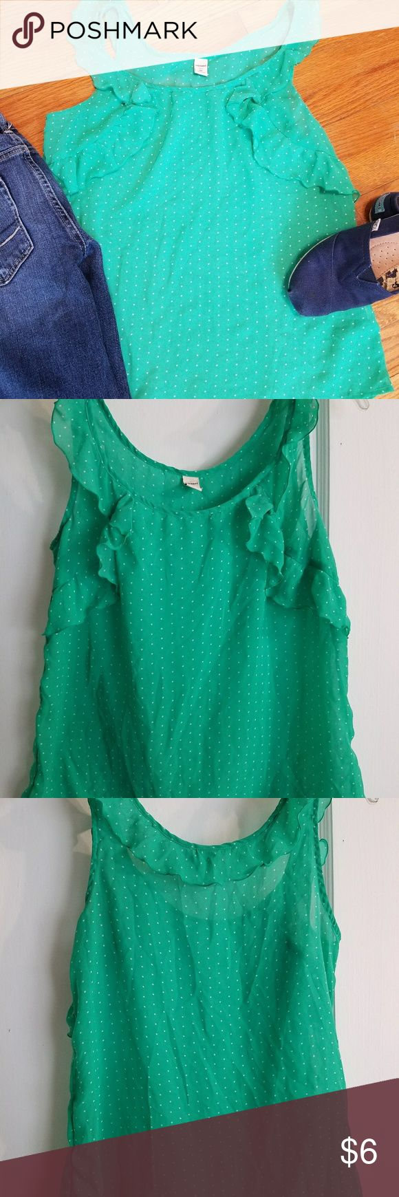 Old Navy sheer polka dot tank Light-weight sheer jelly green tank with white polka dots can be dressed up with white cropped pants or down with skinny jeans! Old Navy Tops Blouses