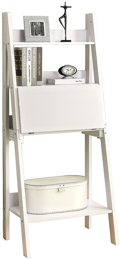Monarch Specialties Ladder Bookcase with a Drop-Down Desk #affiliatelink