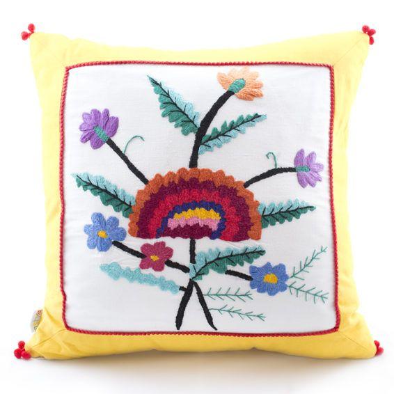 Подушка «Квітка-веселка», 45х45 Эти подушки ручной работы от Osha, будут прекрасным подарком для любителей ярких, цветочных композиций, а эксклюзивный узор порадует тех, кто отдает предпочтение индивидуальности. Размер: 45х45 см. #cushion #pillow #hand-knitted #hand-made #openwork #decor #ukraine #madeinukraine #embroidery #cotton #linen #authentic