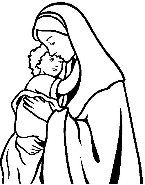 jesus and mary coloring page free to print