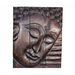Hand Carved Wooden Wall Art Decor Plaque, Solid Teakwood 16x20 inc Wooden Colour