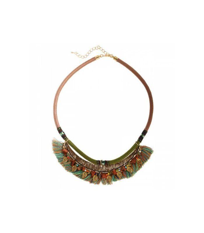 Gekleurde korte halsketting met kleurrijke franjes: duurder