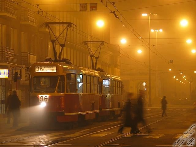 Warszawa, tram line 36 in mist.