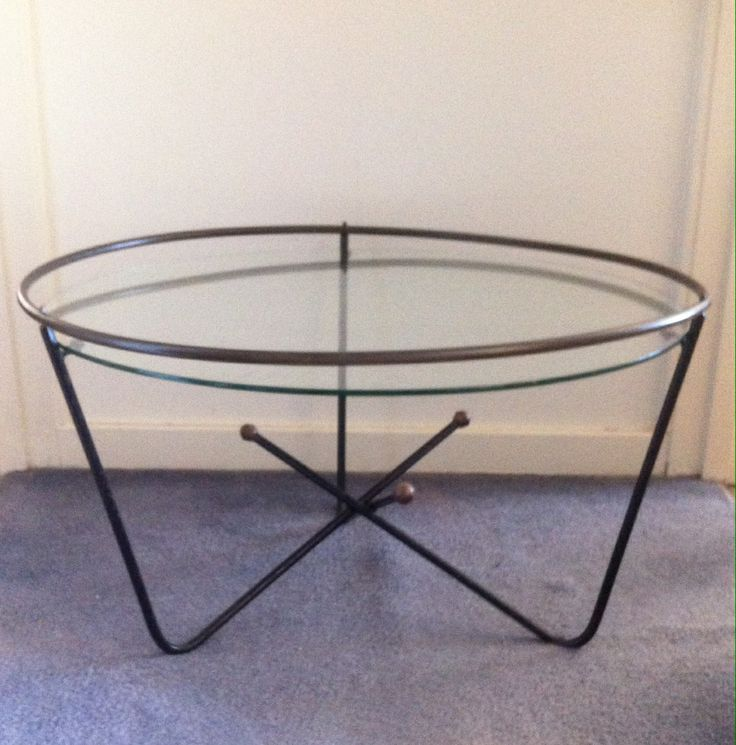 Coffee table, painted steel rod, brass, glass and rubber. Manufactured by Framac Pty Ltd. c.1958.