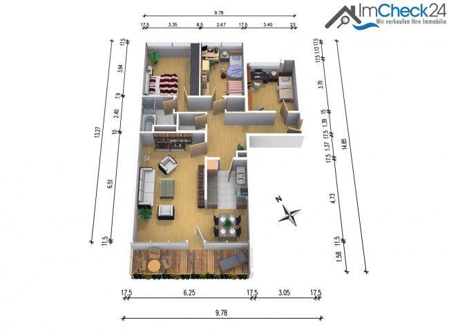 Grundriss der wohnung 4 zimmer wohnung in bensberg zum for Wohnung design studium