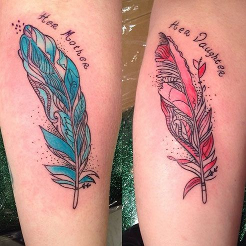 Mother Daughter Feather Tattoos