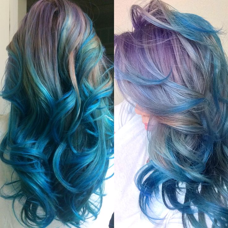Mermaid hair. Products used on pre-bleached hair: • Ion color brilliance purple • Ion color brilliance blue  • Tresemme silicone-free conditioner (to dilute your colors)