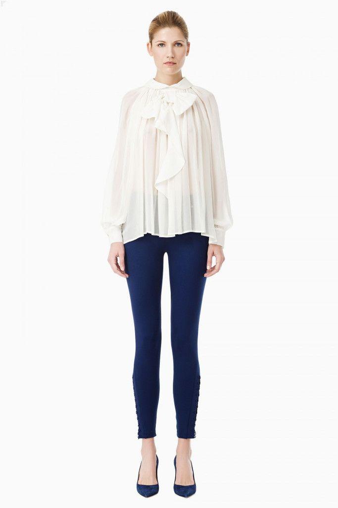 Leggings stringato Elisabetta Franchi, disponibile nei colori blu e nero, taglia 40, 42 e 44, vestibilità aderente, taglio lungo, vita media