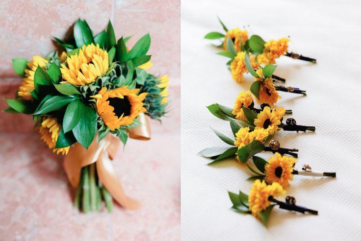 Elegant Sunflower Wedding Bouquet