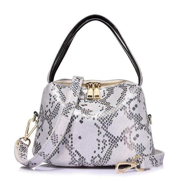 Serpentine Leather Hobo Bag