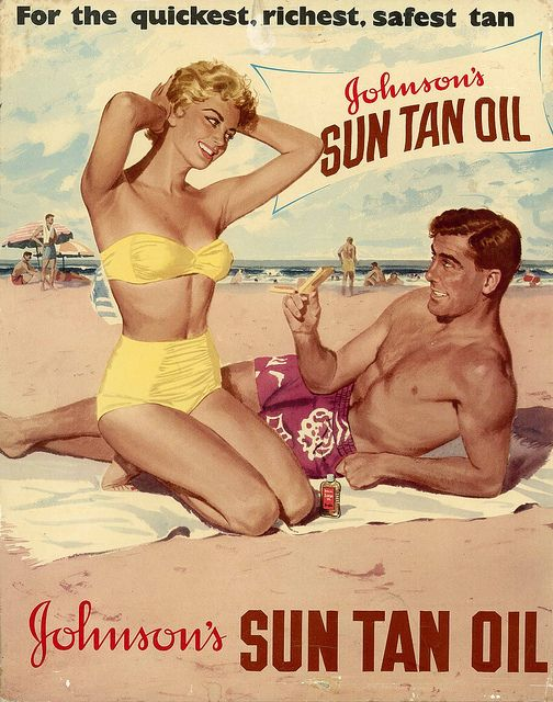 Johnson's Sun Tan Oil. These people are blissfully unaware of melanoma, and doing what people used to do before we became paranoid about the ozone layer and skin cancer: enjoying the beach. They probably have some Lucky Strikes and a shaker of martinis, too.